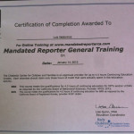 Luis' Certificate of Completion of Mandated Reporter General Training Course