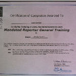 Laura Certificate of Completion of Mandated Reporter General Training Course